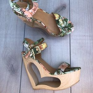 Madison by Shoe Dazzle - Floral Wedge Heels